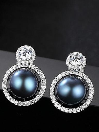 Black 1K17 925 Sterling Silver Freshwater Pearl White Round Luxury Stud Earring