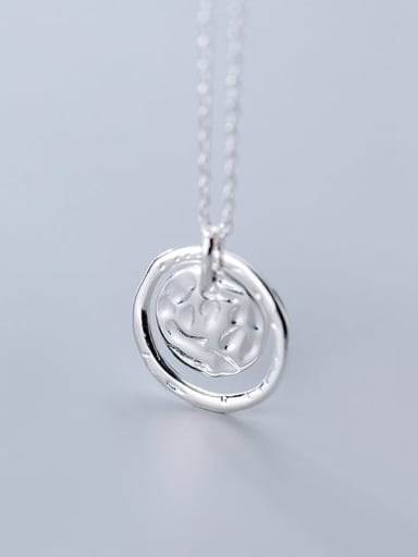 925 Sterling Silver Minimalist Round Pendant  necklace