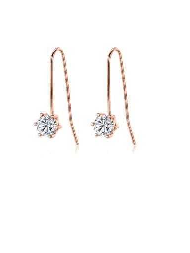 925 Sterling Silver  Hexagon Cubic Zirconia  Minimalist Hook Earring