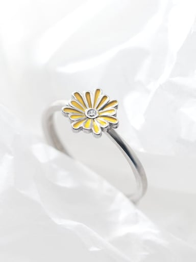 925 Sterling Silver Enamel Flower Cute Free Size Band Ring