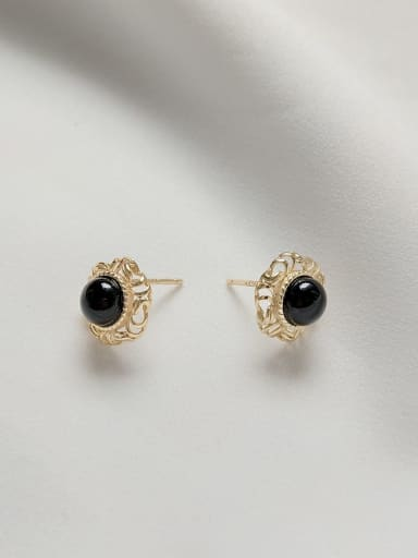 925 Sterling Silver Carnelian Black Round Vintage Stud Earring