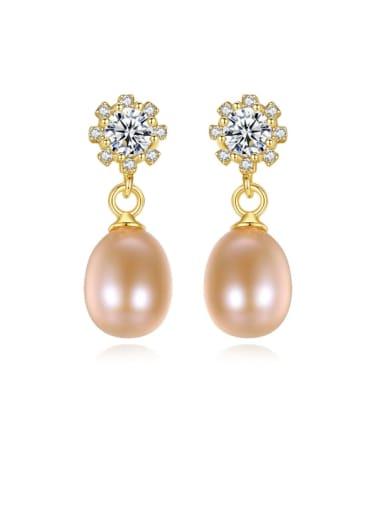 925 Sterling Silver Freshwater Pearl Flower Vintage Drop Earring