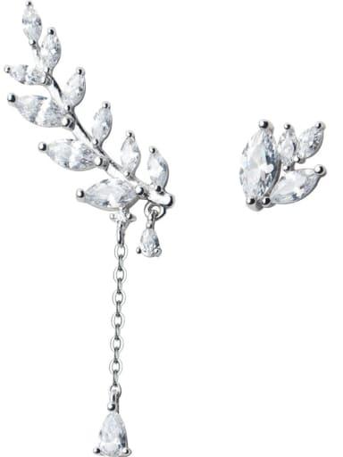 925 Sterling Silver Cubic Zirconia Asymmetry Leaf Dainty Drop Earring