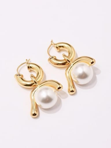 gold Copper Imitation Pearl White Irregular Vintage Huggie Earring
