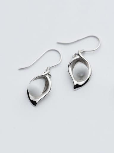 925 Sterling Silver Cats Eye Leaf Vintage Hook Earring