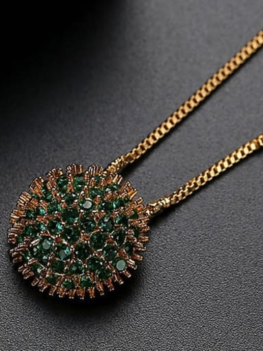 Green plating 18K t10b25 Copper Cubic Zirconia Retro round flower pendant  Necklace