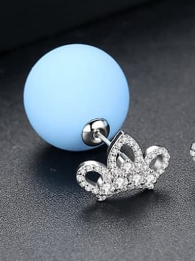 blue Copper Cubic Zirconia Minimalist  Round Ball Stud Earring