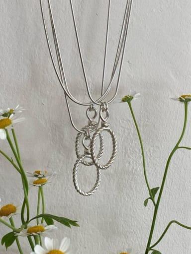 925 Sterling Silver Hemp Rope Snake Bone Necklace