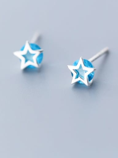 925 Sterling Silver Cubic Zirconia Blue Star Minimalist Stud Earring