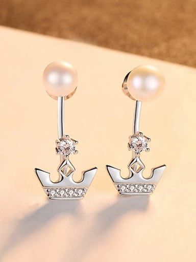Platinum 16d02 925 Sterling Silver Freshwater Pearl Irregular Minimalist Stud Earring