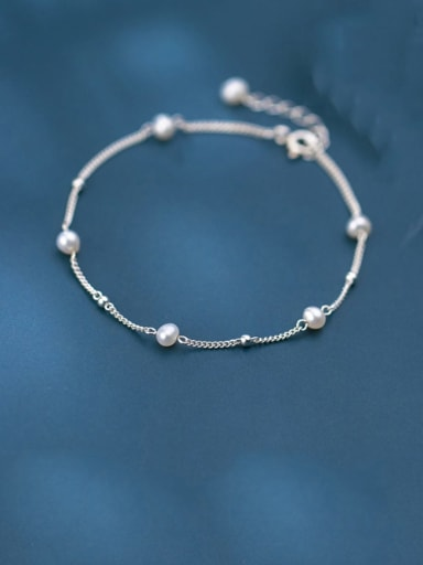 925 Sterling Silver Imitation Pearl  Round Minimalist Beaded Bracelet