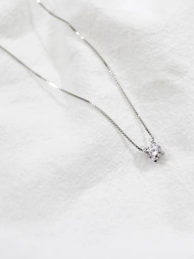 S925 Sterling Silver personalized single diamond necklace