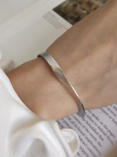 925 Sterling Silver Irregular Minimalist  Twisted Frosted Cuff Bangle