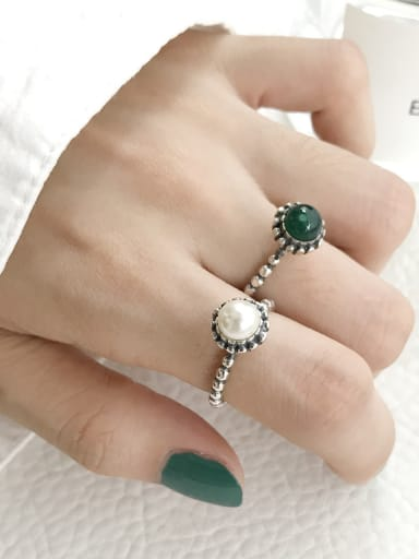 925 Sterling Silver Round Vintage Free Size  Band Ring