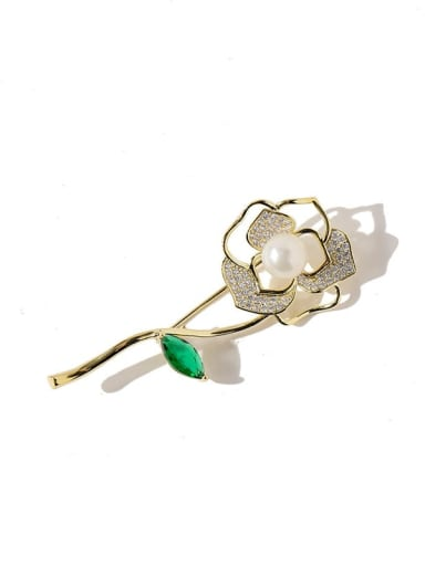 Golden Copper Cubic Zirconia White Rosary Dainty Brooches