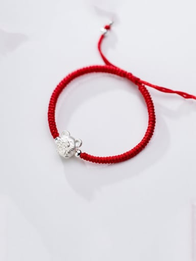 999 Fine Silver With  Mouse Red Rope Hand Woven Bracelets