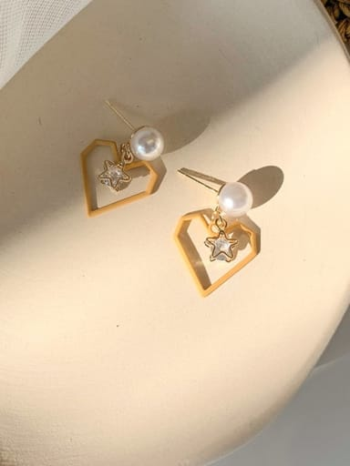 B orange Alloy With Imitation Gold Plated Simplistic Drop Earrings