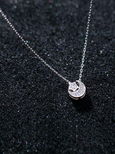 925 Sterling Silver Rhinestone White Star Minimalist Necklace