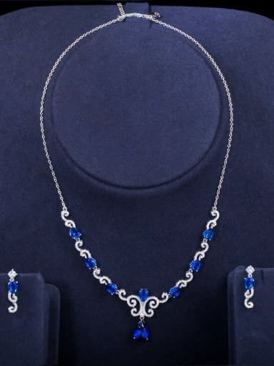 blue Copper Cubic Zirconia Luxury Flower Earring and Necklace Set