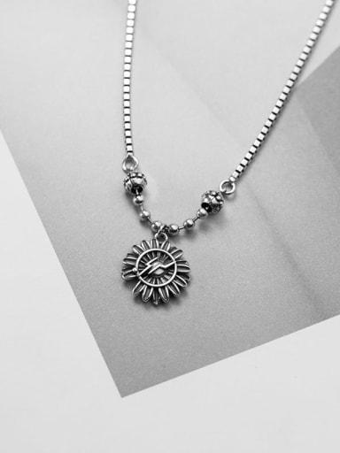 925 Sterling Silver Vintage  Flower Necklace