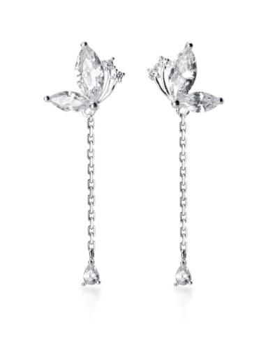 925 Sterling Silver Cubic Zirconia Butterfly Tassel Dainty Drop Earring