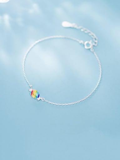 925 Sterling Silver Enamel Geometric Minimalist Link Bracelet
