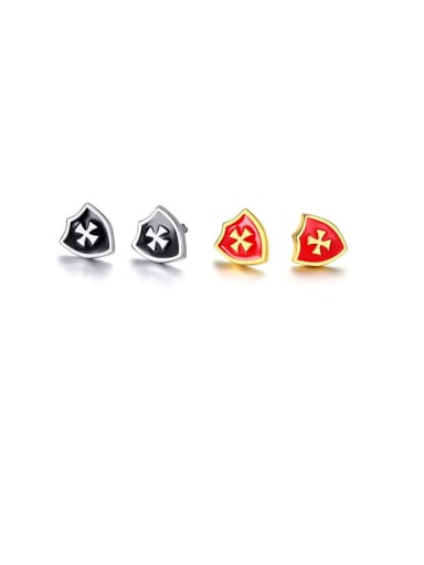 Stainless Steel With Shield Cross Stud Earrings