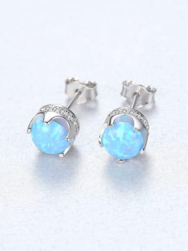 Blue 18F11 925 Sterling Silver Opal Geometric Trend Stud Earring