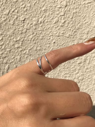 925 Sterling Silver Vintage Diagonal Tail   Stackable Ring