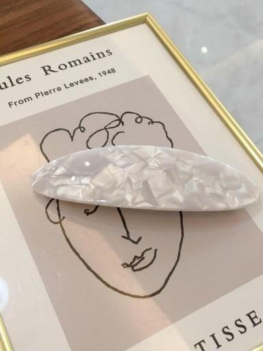 white Alloy Cellulose Acetate Minimalist Geometric  Hair Barrette