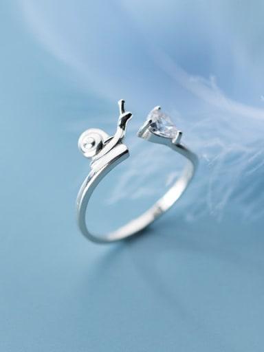 925 Sterling Silver Cubic Zirconia White Irregular Minimalist Band Ring