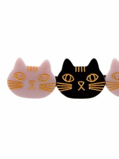 Black Pink Cellulose Acetate Cute Cat Hair Barrette