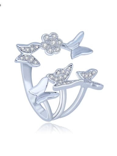 Copper Cubic Zirconia Butterfly Cute Free Size  Band Ring
