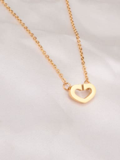 Golden Titanium Smooth Hollow Heart Necklace