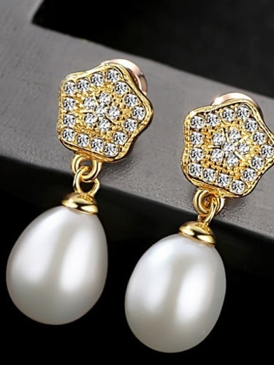 White 2f12 925 Sterling Silver Cubic Zirconia  Geometric Freshwater Pearls   Earring