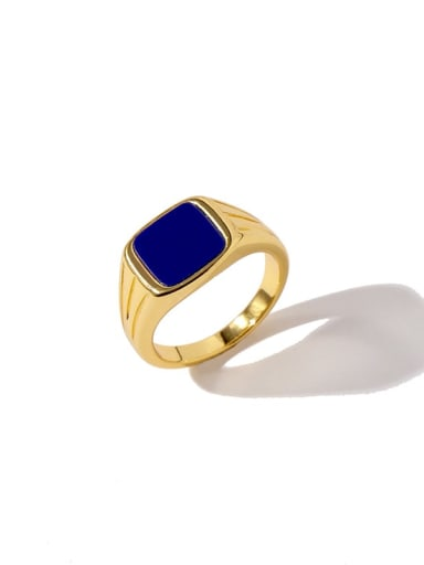 gold blue Copper Square Minimalist Band Ring