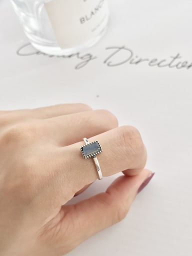 925 Sterling Silver Square Minimalist Spectral stone Solitaire Ring