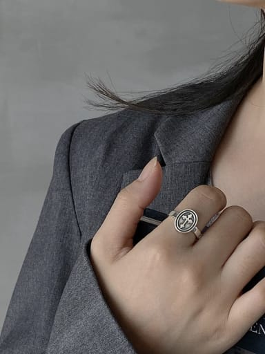 925 Sterling Silver Cross Vintage  Free Size Midi Ring