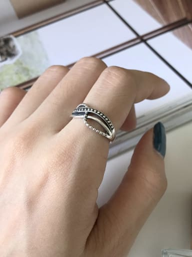 925 Sterling Silver Rope Twist  Vintage Free Size Midi Ring