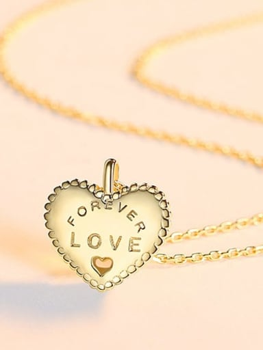 18K gold 14D03 925 Sterling Silver Simple fashion heart pendant Necklace