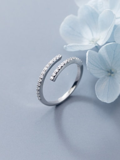 925 Sterling Silver Rhinestone White Round Minimalist Band Ring