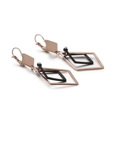 rose black Stainless Steel Hollow Geometric Minimalist Drop Earring