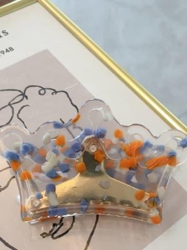 Orange blue dots Cellulose Acetate Minimalist Geometric Acrylic crown Hairpin ponytail