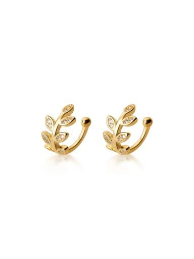 925 Sterling Silver Rhinestone Leaf Minimalist Clip Earring