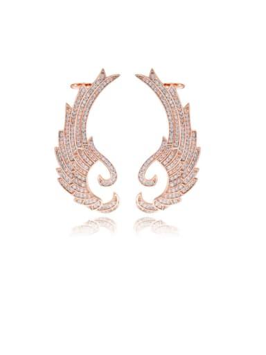 Copper Cubic Zirconia Dainty Wing  Stud Earring