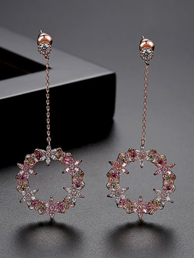 pink-T04I05 Copper Cubic Zirconia Multi Color Holllow Round Minimalist Drop Earring