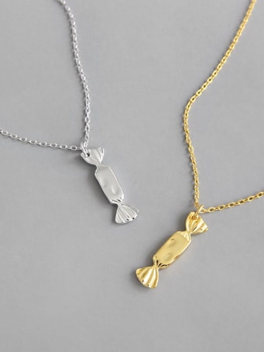 S925 pure silver simple bow candy Necklace