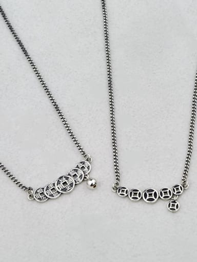 Vintage Sterling Silver With Gun Plated Vintage Round Necklaces