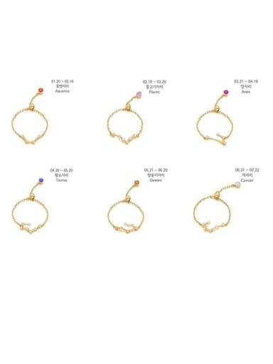 925 Sterling Silver Cubic Zirconia twelve  Constellation Minimalist Band Ring