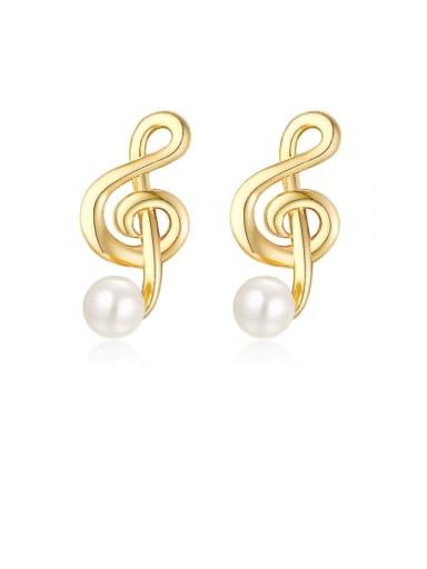 Copper Imitation Pearl White Geometric Minimalist Drop Earring
